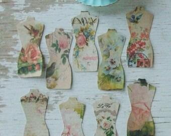 Mannequin notecards - shabby chic notecards - bird notecards - flower notecards - postcards - embellishments - scrapbooking