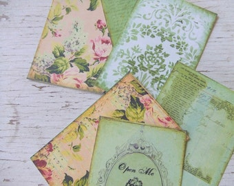 Small notecards - cottage chic - Green and pink Roses - notecards - mini notecards - Embellishments