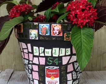 Mosaic pot - small mosaic pot - Marilyn Monroe mosaic pot - Studio 54 - Andy Warhol tiles - vintage tiles  Australia - garden gifts