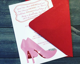 Bachelorette Party, Bridal Shower, Ladies Lunch Invitation with High Heel Sparkly Shoes - Pack of 10