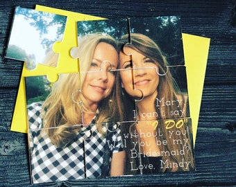 Custom Photo Puzzle - Bridesmaid Proposal Photo Puzzle -Bridesmaid Box Card