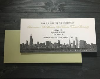 Chicago Save the Date Skyline - Chicago Wedding Invitation, Chicago Skyline Invitation, Custom Chicago Wedding invitation Set of 10