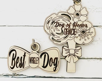 Pet Wedding Tag, Best Dog, Dog of Honor Pet Wedding Tag, Pet Wedding Accessories, Dog Bow Tie, Dog Wedding Bouquet, Dog Bridesmaid
