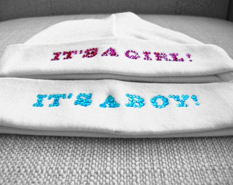 Baby hat, its a boy or girl photo prop with rhinestones for Newborn Baby
