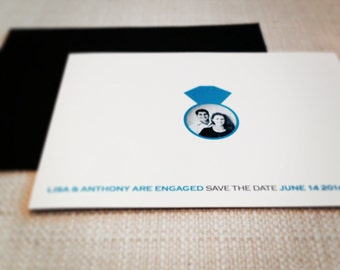 Simple Save the Date or Announcement with Engagement Ring