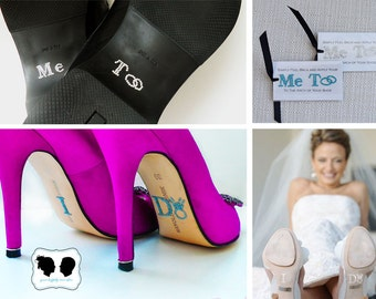 I Do Shoe Stickers with DIAMOND RING & Me Too Groom Stickers Special Package Deal
