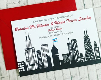 Chicago Skyline Wedding Invitation | Chicago Save the Date | Chicago Wedding | Chicago Invitation | Chicago Invite  Set of 10