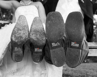 Bride and Groom Photo Props | He's Mine She's Mine Shoe Stickers