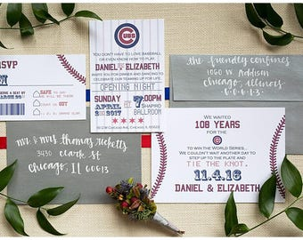 Baseball Wedding Ticket Invitation | Sports Wedding | Baseball Ticket Save the Date | Cubs Theme Wedding | Your Baseball Team Ticket Invite
