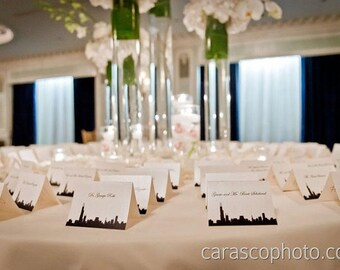 Skyline Place Cards - Chicago Place Cards - City Wedding - Chicago Escort Cards -- Customizable with your City