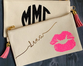 Personalized Makeup Bag with Bridesmaids Name, Monogram and Lips - Monogram gift of bridal party