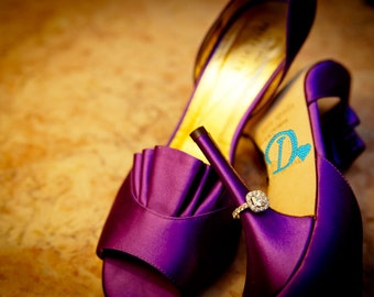 I DO Crystal Shoe Stickers with HEART in Blue for your Wedding Shoes