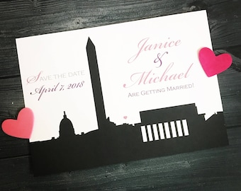 Washington DC Wedding Save the Date or Invitation-custom DC wedding save the date- DC skyline Invitation