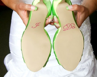 Pink I Do Wedding Shoe Appliques - Rhinestone I Do Shoe Stickers for your Bridal Shoes