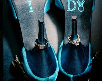 I DO Wedding Crystal Shoe Stickers in Blue with Diamond Wedding Ring for your Bridal Shoes