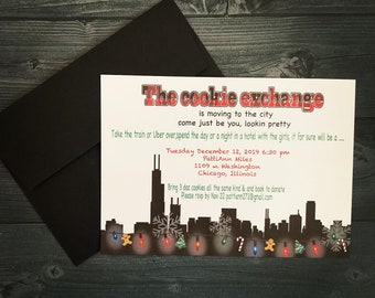 Chicago Holiday Party Invitation | Chicago Christmas Party Invitation |  Set of 10