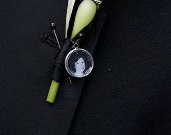 Wedding Photo Charm for Brides Bridal Bouquet or Grooms Boutonniere | Memorial Photo Charm
