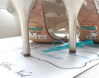 MR and MRS Shoe Sticker Sign in Silver Crystal Perfect for Wedding Props and Unique Photo Opp