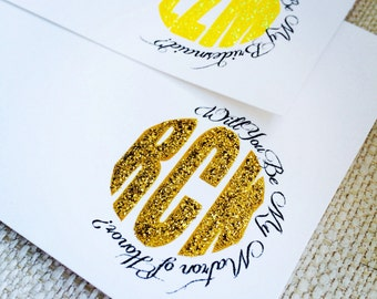 Bridesmaid Box Proposal Card with Glittered Monogram