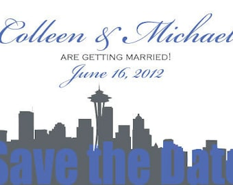 SEATTLE Save the Date Postcard - Seattle Invitation - Seattle Wedding - Seattle Silhouette invite