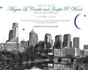 Philadelphia Skyline Save the Date - Philadelphia Invitation - Philadelphia Skyline