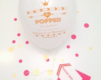 Bridesmaid Proposal Ballon Card in your choice of color | Bridal Party Proposal Ideas