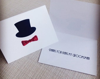 Groomsman Cards with Bow Tie and Top Hat - Groomsman Proposal Card