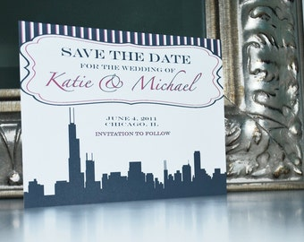 Wedding Save the Date or Invitation-Chicago Strips