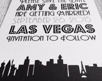 Destination Wedding Las Vegas Silhouette Save the Date or Invitation