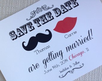 Lips and Mustache Save the Date or Mr and Mrs Invitation