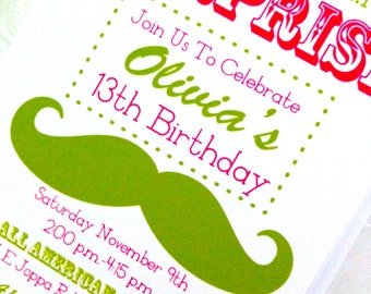 Birthday Surprise Invitation with Pink Mustache