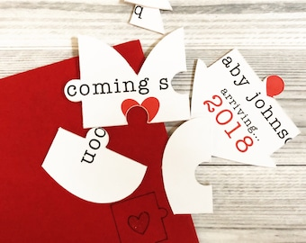 Pregnancy Announcement Puzzle - Pregnancy Reveal Puzzle Card - Pregnancy Announcement to Grandparents  - Baby Coming Soon