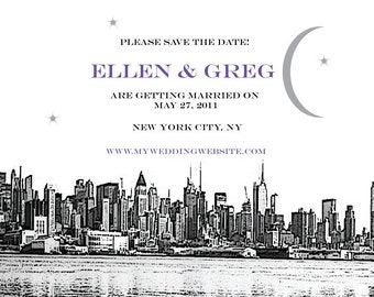 New York City Save the Date - New York City Wedding Invitation - NYC Skyline - New York Wedding
