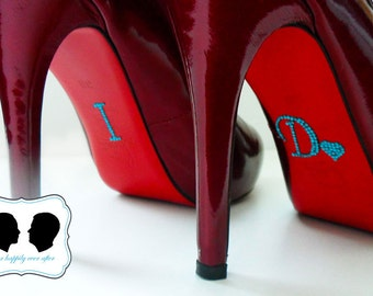 I DO Wedding Shoe Stickers with HEART in Blue for your Bridal Shoes