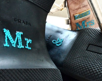 MR. & MRS. Wedding Shoe Sticker in Blue Crystal for the Bride and Groom