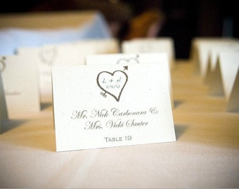 Wedding Place Cards with Heart and Arrow