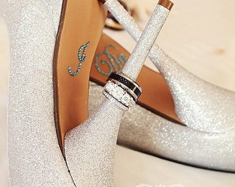 I DO Wedding Shoe Stickers in Blue for the bottom of your wedding shoes