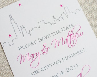 Chicago Save the Date, Chicago Invitation, Chicago Outline Invitation