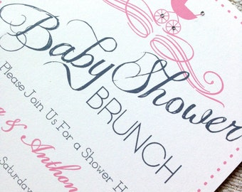 Stroller Baby Shower Invitation | Pink Stroller Baby Shower Invite | Its a girl baby shower invitation