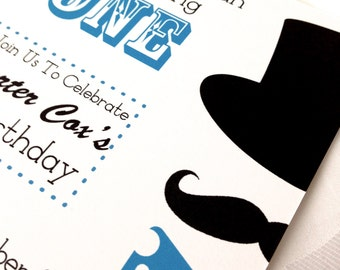Little Man Mustache Party , Bow Tie, and Top Hat Baby Shower or Birthday Invitation