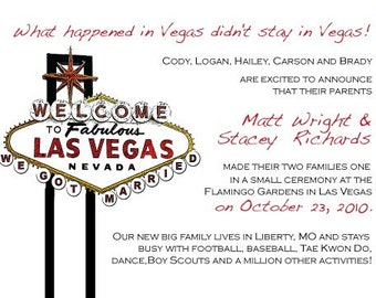 Las Vegas Wedding Announcement, Las Vegas Save the Date, Las Vegas Invitation