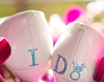 I Do Shoe Stickers - DIAMOND RING I Do Wedding Shoe Stickers - I Do Shoe Appliques - Rhinestone I Do Shoe Decals for your Bridal Shoes