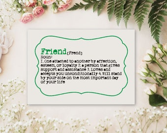 Will you be my Bridesmaid Card | Friend or Sister Definition Bridesmaid Proposal Card