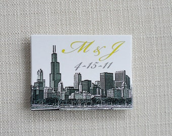 Wedding Stickers for Gifts, Favors or Welcome Bags with City Skyline set of 25