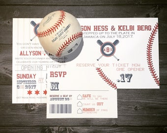Baseball Ticket Invitation Set with your logo