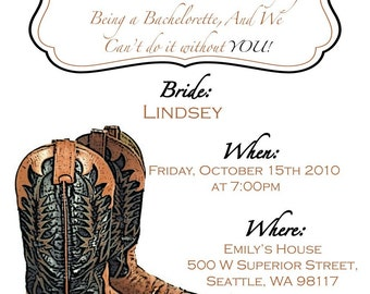 Cowboy Bachelorette Party Invitation with glittered Boots