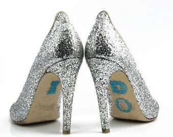 I DO Crystal Shoe Stickers with BIG Diamond Ring