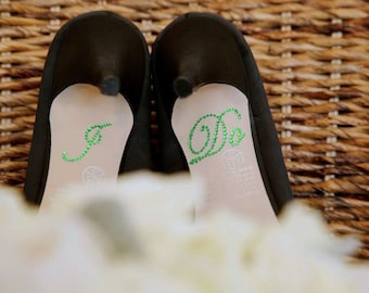 Green I Do Shoe Stickers for your Bridal Shoes