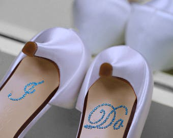 I DO Shoe Stickers in BLUE I Do Wedding Shoe Stickers - Blue I Do Wedding Shoe Appliques - I Do Shoe Stickers for your Bridal Shoes