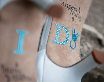 I DO Crystal Shoe Stickers in Blue with Diamond Ring for your Something Blue